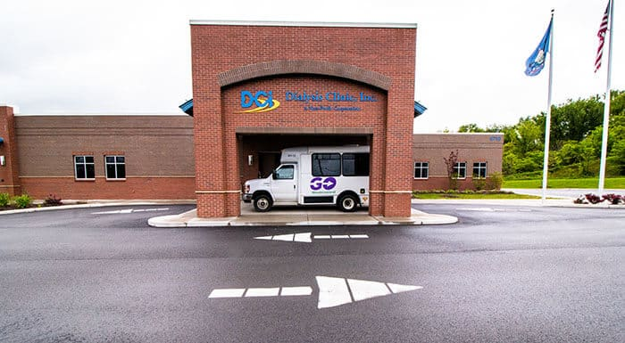 GO Westmoreland Transit bus stopped at a dialysis clinic.