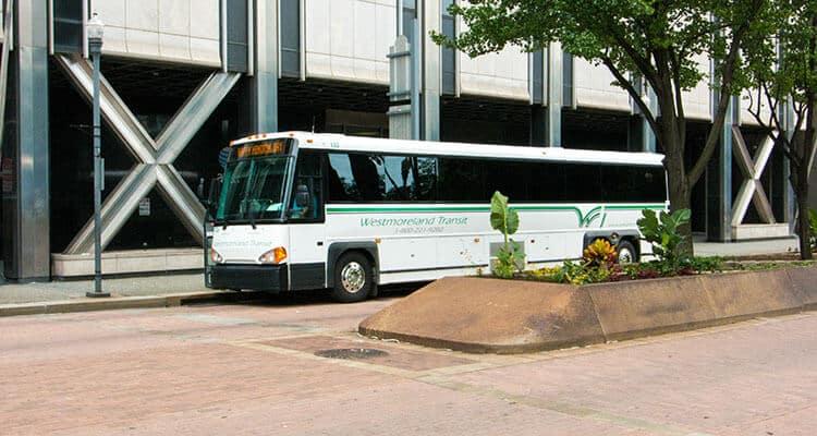 Westmoreland Transit bus on Grant Street in Pittsburgh