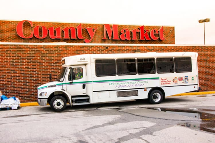Westmoreland Transit bus stopped at County Market on route 16.
