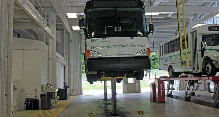 Westmoreland Transit bus receiving preventive maintenance.