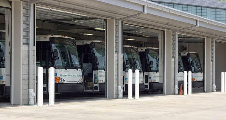 Westmoreland Transit buses at a terminal.